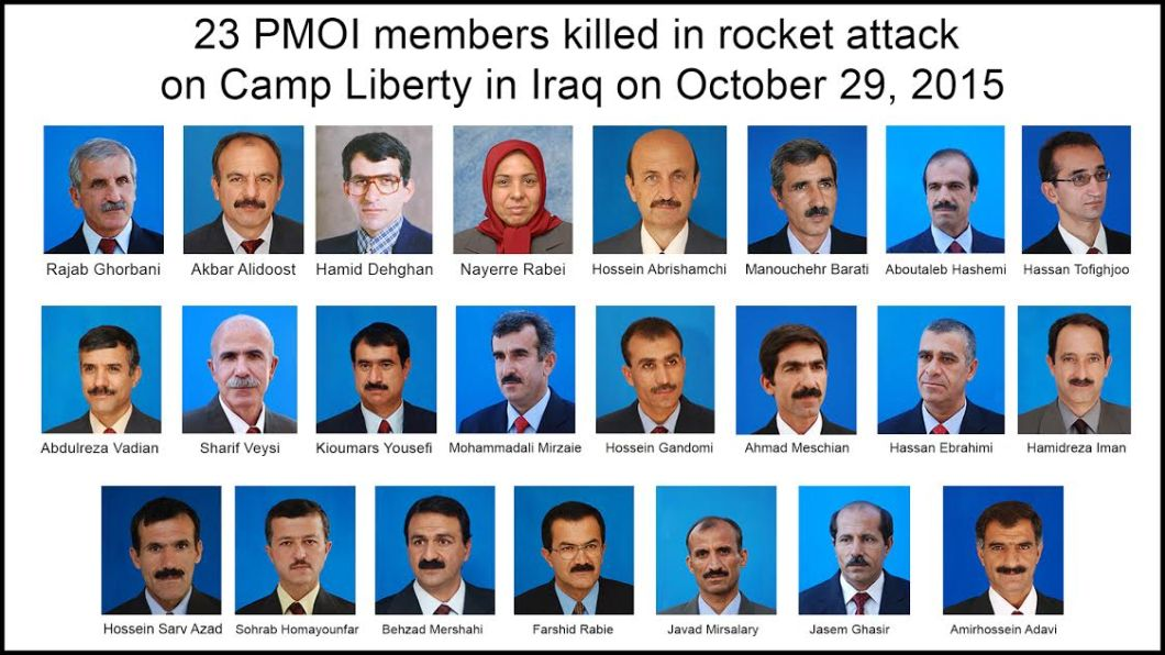 least 23 members of the main Iranian opposition group, the People's Mojahedin Organization of Iran, PMOI were killed on Thursday, October 29, 2015, in a missile attack on Camp Liberty in Iraq