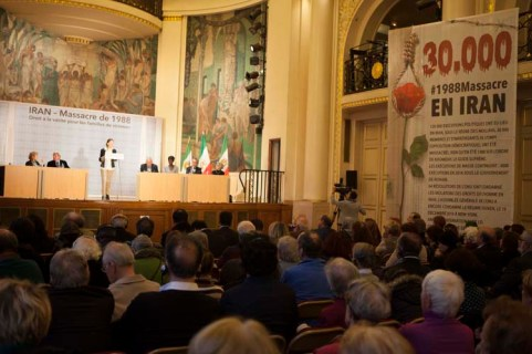 Paris, France, 28/11/2017 - On the initiative of the Committee for the Support of Human Rights in Iran (CSDHI) and the Committee of Mayors of France for a Democratic Iran, on Tuesday, November 28, 2017 a conference held at the City Hall of the 5th arrondissement of Paris. On this conference former French Foreign Minister Bernard Kouchner, former French Secretary of State for Foreign Affairs and Human Rights, Rama Yade, former Prime Minister of Algeria Sid Ahmed Ghozali, Ingrid Betancourt and other human rights activists speaks on the concerns of the international community on Iranian regime relation. An exhibition is organized the City Hall of the 5th arrondissement of Paris., on the massacre of 30 000 political prisoners in 1988 in Iran, a crime for which the UN has just demanded an investigation in its report of this year.